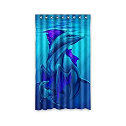 Dolphin Design House Custom Decors Polyester Blackout Window Curtains 50\