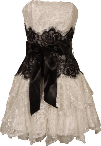 Strapless Bustier Contrast Lace and Crinoline Ruffle Prom Mini Dress Junior