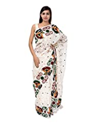 A1 Fashion Women Brasso White Saree With Blouse Piece