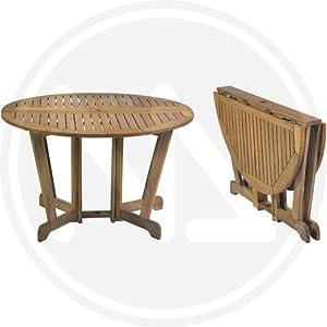 Tavoli tavolo da giardio tondo in legno miele pieghevole for Tavoli amazon