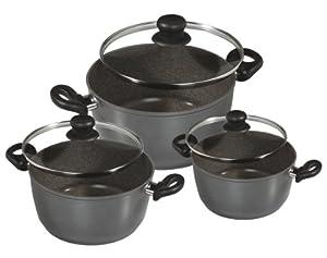 Warimex 6932 Set de récipients de cuisson en aluminium Stoneline 6 pièces comprenant casserole, fait-tout et poêle à frire qui n'accrochent pas + couvercles en verre, Ø 16, 20 et 24 cm (compatible avec feux à induction)