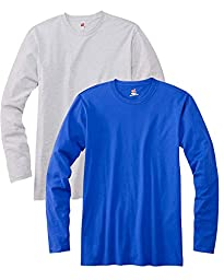 Hanes Men\'s 2 Pack Long Sleeve Nano T-Shirt - 1 Ash / 1 Deep Royal - XXX-Large