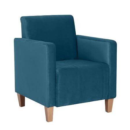 Sessel / Einzelsessel, samtiger Veloursstoff in petrol, stabiles Holzgrundgestell aus Massivholz, 70 x 80 x 66 cm