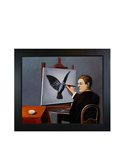 """René Magritte's La Clairvoyance Framed Hand Painted Oil On Canvas, Multi, 24.75"""" x 28.75"""""""