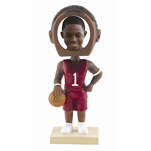 Male Basketball Photo Bobble Head - Dark Skin Tone