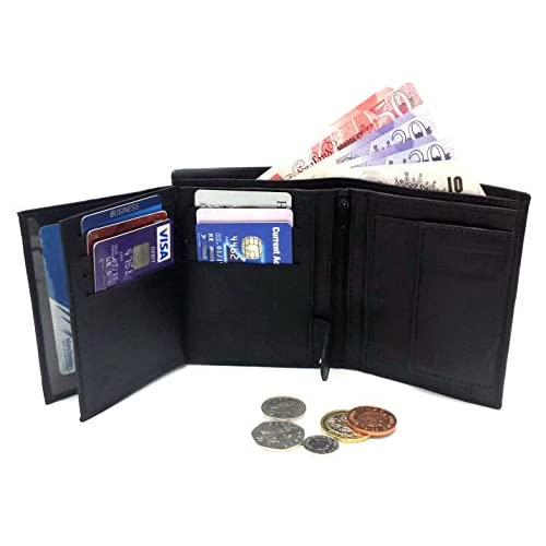 MENS HIGH LUXURY SOFT LEATHER TRI FOLD DESIGN WALLET CREDIT CARD SLOTS, ID WINDOW AND COIN POCKET