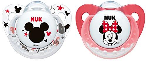 NUK 10176141 Disney Mickey Trendline Silikon-Schnuller (6-18 Monate, kiefergerecht, BPA frei, 2 Stück) weiß/rot