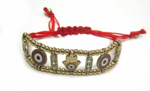 Red String Golden Bracelet with Hamsa and Evil Eye Charms and Crystals - Good Luck Bracelet