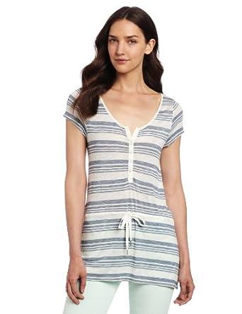 (新低)Calvin Klein Jeans Women's Tie Waist Henley女式短袖T桖,$12.99