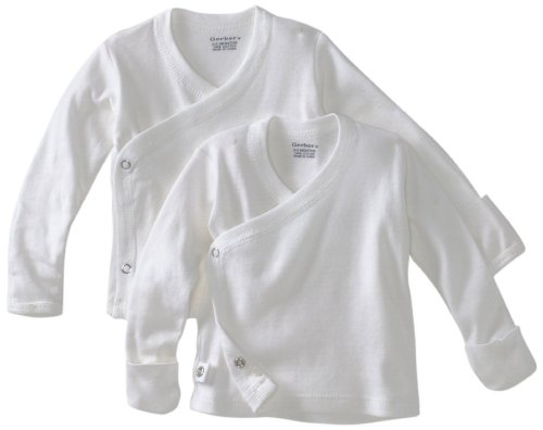 Unisex White 2 pk Long Sleeve Side Snap Shirt