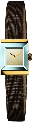 Gucci Women's YA128506 G-Frame Square Brown Satin Strap 18k Case Watch