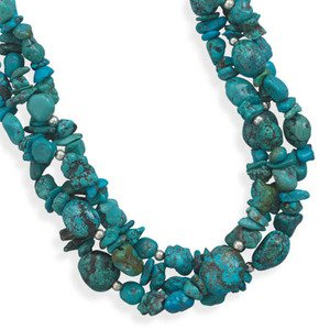 Turquoise Nugget Three Strand Sterling Silver Bead Necklace Adjustable