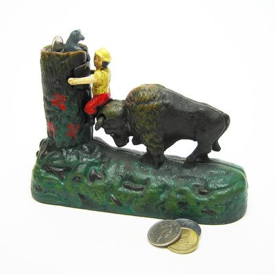 Design Toscano Butting Buffalo Collectors' Die Cast Iron Mechanical Coin Bank