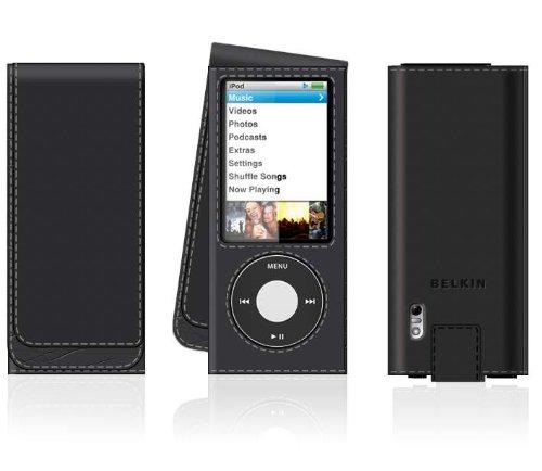 ipod nano 5th gen 8gb 16gb belkin black faux leather folio. Black Bedroom Furniture Sets. Home Design Ideas