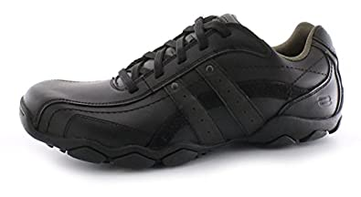 New Mens/Gents Black Skechers Blake Smooth Leather Upper Casual Shoes. - Black - UK 11