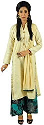 Aarshi Women's Pure Cambric Cotton Stitched Salwar Suit (KMD/DS/001/2719_L, Off-White & Green, L)
