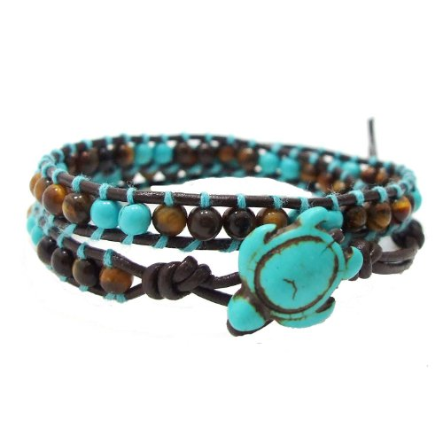 Ocean Sea Turtle Tiger's Eye and Reconstructed Turquoise Double Wrap Leather Bracelet