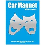 Comedy Tragedy Mask Car Magnet Chrome