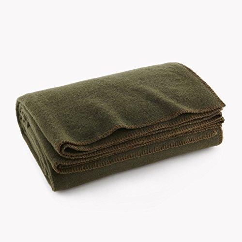 Olive Drab Green Warm Wool Fire Retardent Blanket, 66