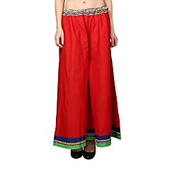 Shararat Women's Flared Plazo cum Divider Skirt (8769_Red_Free Size)