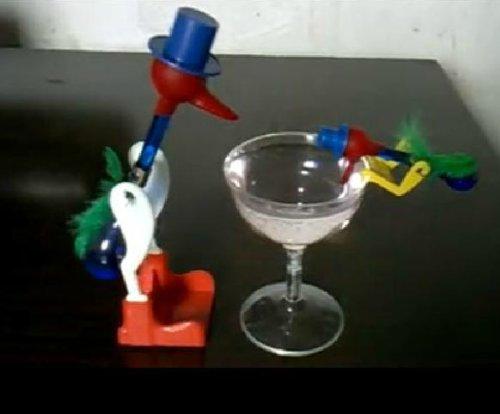 親子セット ドリンキングバード 標準サイズ(青) & ミニサイズ(赤) & グラス 3点セット 幸福鳥 水飲み鳥 平和鳥 ハッピーバード