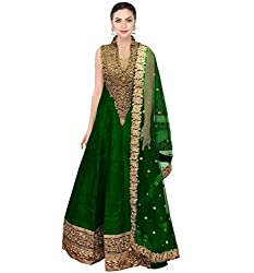 SK Clothing Green Color Raw Silk Dori Work Embroidered Semi_Stiched Long Suit For Women