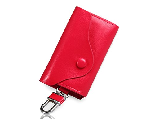 Niksa キーケース 本革 フック付き 6連 カード入れ  とても便利 男女兼用 バラ