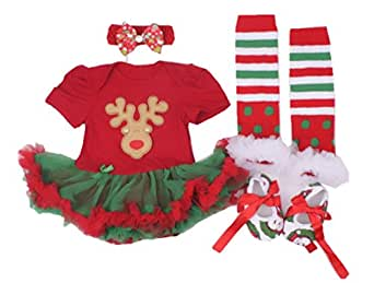 WINMI® Baby Girls' Newborn 1st Christmas Onesie Costume Outfits Tutu Dress 4PCs
