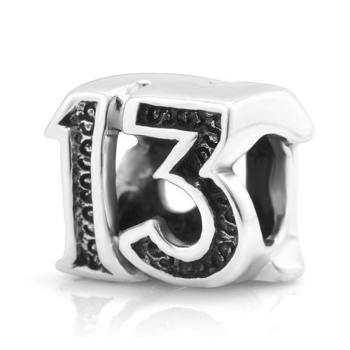 925 Sterling Silver Lucky #13 Bead Charm Fits Pandora Bracelet (Number 13 compare prices)