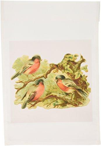 3dRose FL _ 104678_ 1Vittoriana Vintage Uccellini tre pettirossi in un giardino Albero Rosso Bandiera, 12da 18pollici