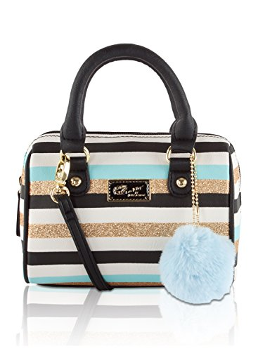 betsey-johnson-mini-crossbody-satchel-bag-blue-gold-stripes