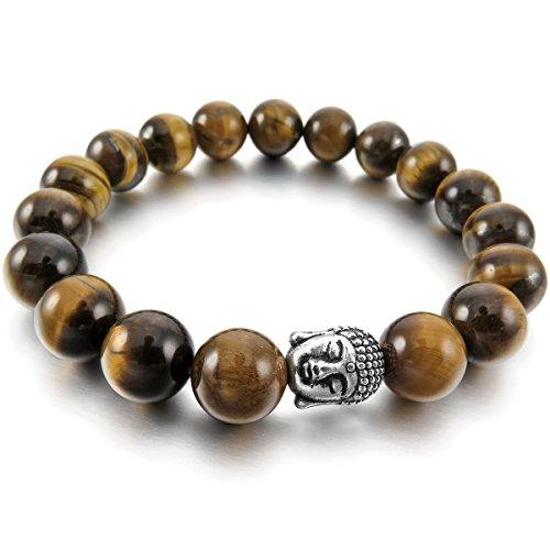 MunkiMix 10mm Lega Bracciale Energia Collegamento Polso Energia Stone Agata Agate Marrone Argento Buddha Preghiera di Mala Perline Bead Donna,Uomo