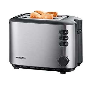 Severin Brushed Stainless Steel 2-Slice Toaster, 850 Watt, Black from Severin