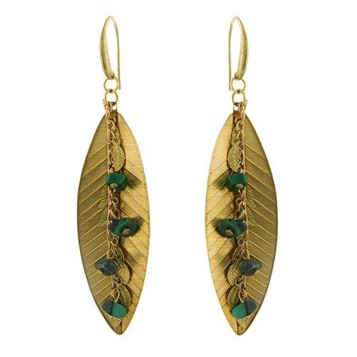 1928 Jewelry T.R.U. Leaf Fringe Drop Earrings