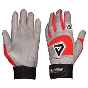 Adult Gray Batting Gloves (Red) (2X Large)