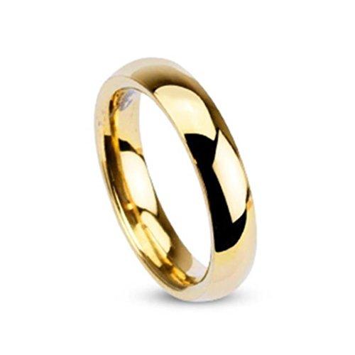 Paula & Fritz anello in acciaio dorato argentato lucido 4 mm larghezza anello misure 46 (144) - 69 (22), Acciaio inossidabile, 20, cod. R002-4-09