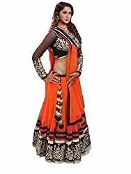 CATALOGCREATION COM Women's Georgette Fenta Lehenga Choli (Fenta Lehenga_Orange_Free Size)