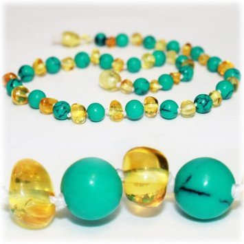 The Art of Cure Baltic Amber Teething Necklace for Baby (lemon/Tibetian Turquoise) - Anti-inflammatory