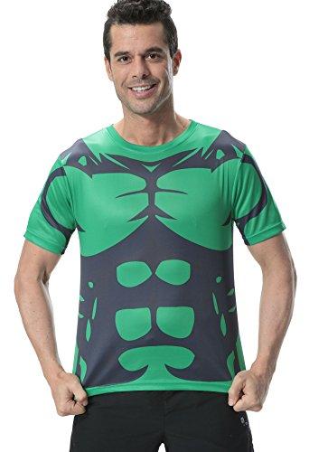 Red-Plume-Hombres-Deporte-aptitud-Hulk-manga-corta-Camiseta