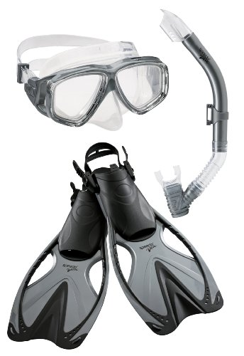 Speedo Adult Adventure Mask Snorkel Fin Set, Large/X-Large, Silver