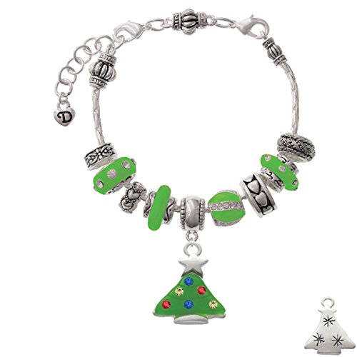 Green Resin Christmas Tree With Crystals - Lime Green Juliet Charm Bead Bracelet