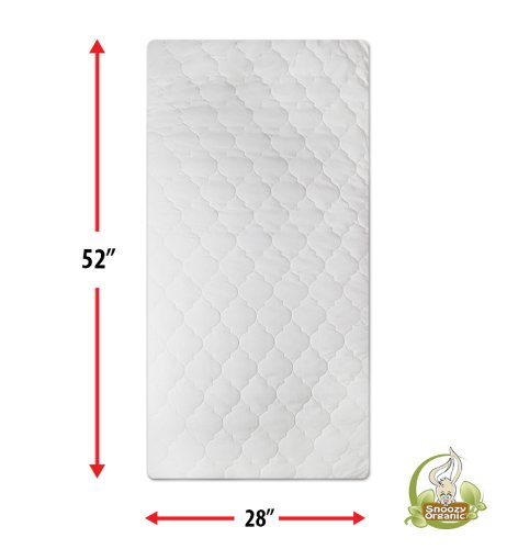 "Snoozy Organic Cotton Waterproof Crib Mattress Pad Featuring Safety Stay on Corners, 28""x 52"""