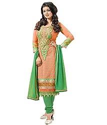 3G9 shop Designer Green Colored Heavy Embroidered Georgette Salwar Suit Dupatta Dress Material