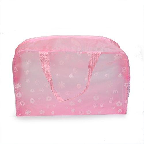 2 x Sac Rangement Maquillage Cosmétique Rose Transparent PVC Imperméable à l'Eau