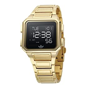 Adidas ADH1830 Unisex Black Digital Gold Plated Bracelet Watch