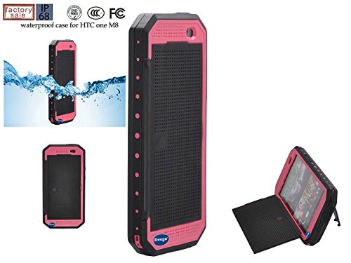Nancy'S Shop Dot View Matrix Case Cover For Htc One M8 Waterproof Dirtproof Snowproof Shockproof Skin Hard Phone Shell For Htc One M8 (Rose Red)