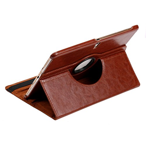 HOKO 360 Degree Rotating Leather Smart Cover Case Stand for Samsung Galaxy Tab S 10.5 LTE SM-T805 (With Wake/Sleep) Brown