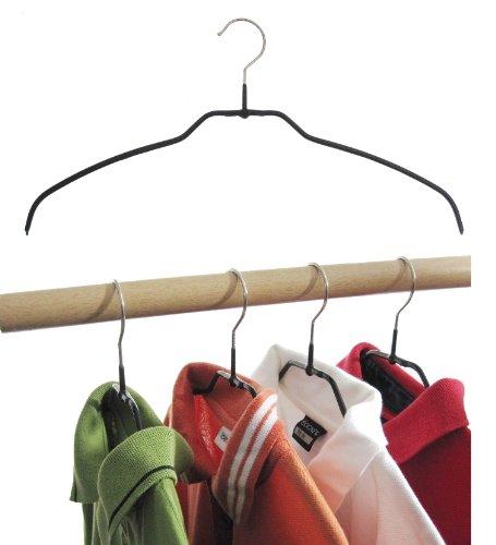 Hagspiel Kleiderbügel aus Metall, Drahtbügel schwarz rutschhemmend beschichtet, für Hemden oder Blusen, 4 mm, 10 Stk., sehr platzsparend