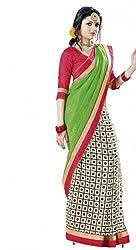 Nistula Box Print And Border Work Bhagalpuri Saree With Red Unstitched Blouse Material [Green] | Lavanya25003