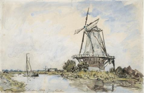 'Johan Barthold Jongkind,Windmill Near Rotterdam,1869' Oil Painting, 16x25 Inch / 41x63 Cm ,printed On Polyster Canvas ,this Best Price Art Decorative Prints On Canvas Is Perfectly Suitalbe For Powder Room Decor And Home Gallery Art And Gifts (Winds And The Waves Dean Hughes compare prices)
